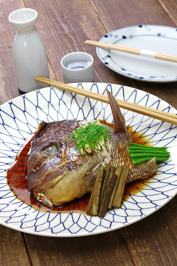 Simmered sea bream head, japanese cuisine. Simmered sea bream head, tai no kabutoni, japanese cuisine stock image
