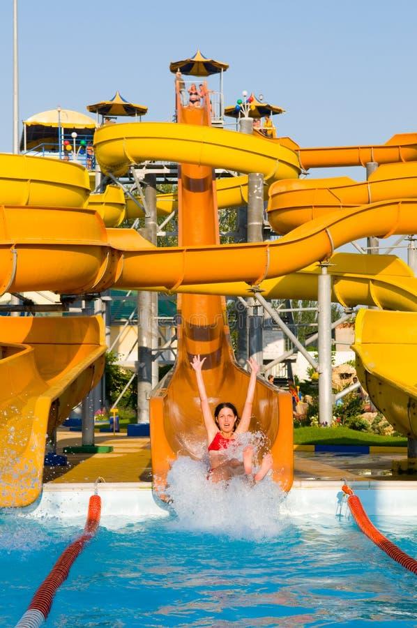 simning för aquaparkkonstruktionspöl royaltyfria bilder