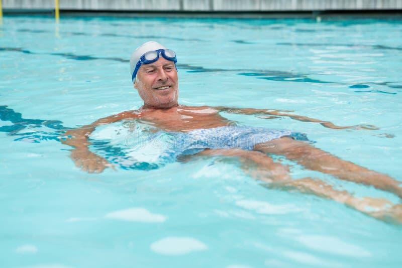 Simning för hög man i pöl royaltyfria foton