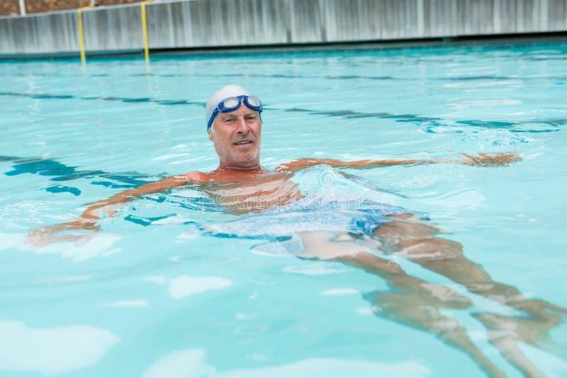 Simning för hög man i pöl royaltyfri bild