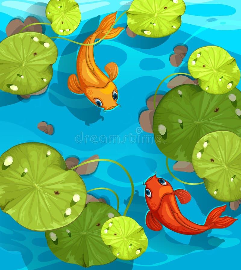 Simning för två fisk i dammet stock illustrationer