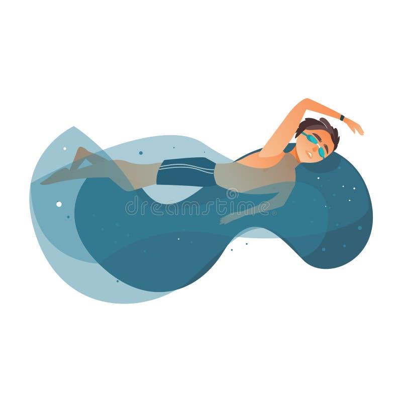 Simning för vektortecknad filmpojke i pöl royaltyfri illustrationer