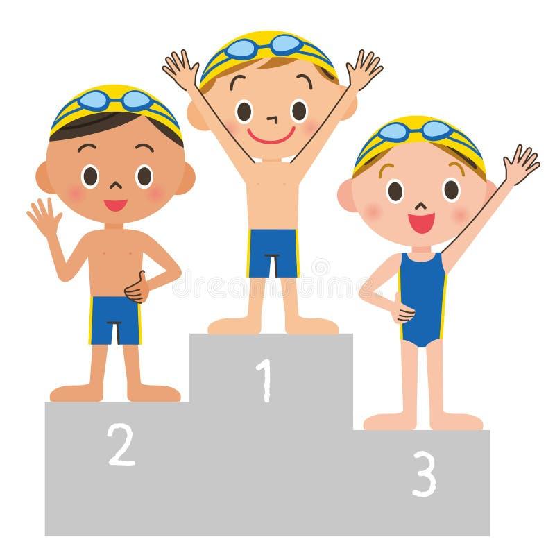 Simningbarnbeställning royaltyfri illustrationer