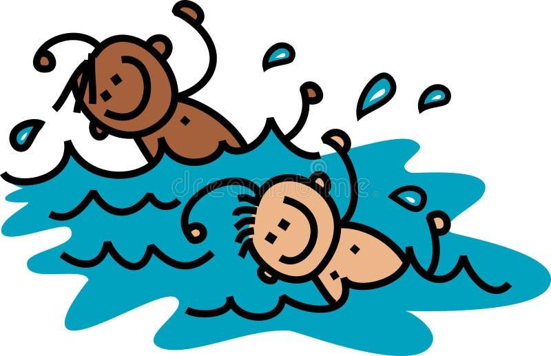 Simningpojkar vektor illustrationer