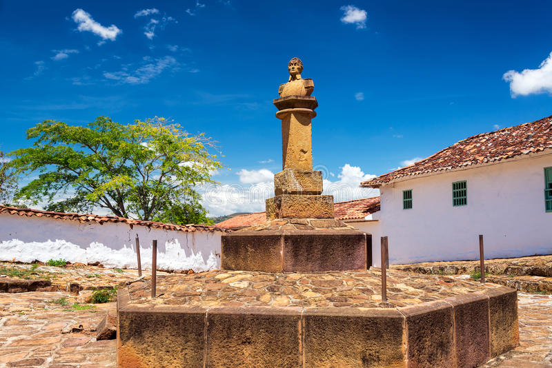 Simon Bolivar Bust in Barichara. Bust of Simon Bolivar in the historic colonial town of Barichara, Colombia royalty free stock photo