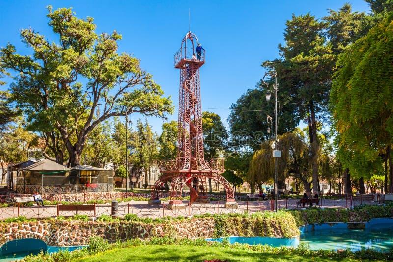 Simon Bolivar Park. SUCRE, BOLIVIA - MAY 22, 2015: Tower like Eiffel Tower in Simon Bolivar Park in Sucre, capital of Bolivia stock images