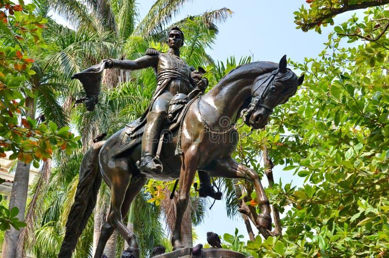 Simon Bolivar Statue stock afbeelding