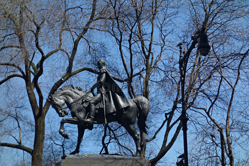 Simon Bolivar Statue. A statue of Simon Bolivar, who played a key role in Latin America's struggle for independence from the Spanish Empire, in Central Park, New stock photo