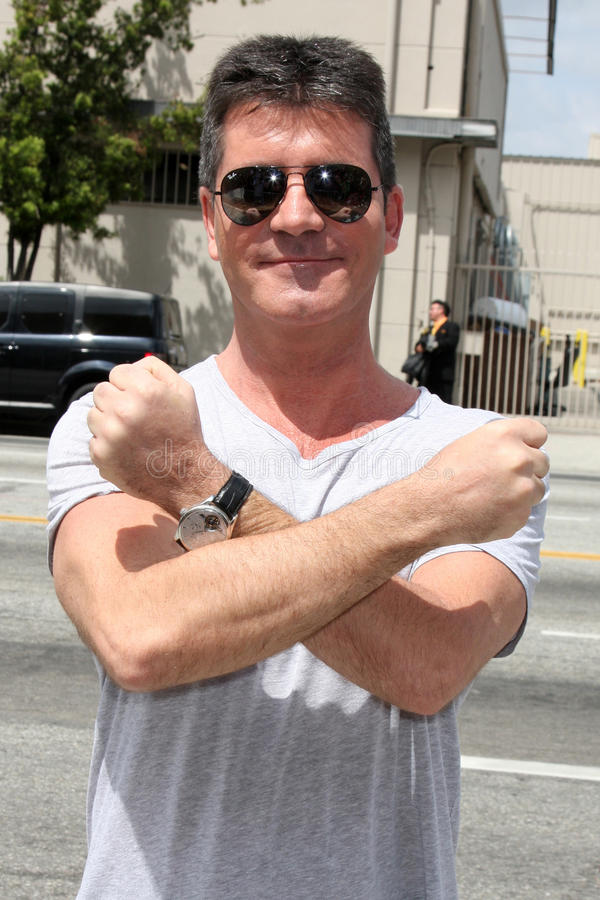 Simon Cowell. LOS ANGELES - MAY 8: Simon Cowell , one of the talent judges, arriving at the X-Factor Auditions at Galen Center on May 8, 2011 in Los Angeles, CA stock image