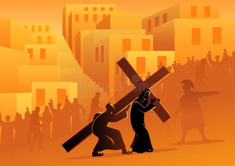Simon de Cyrene ajuda Jesus Carry His Cross ilustração royalty free