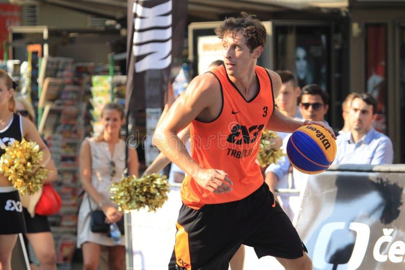 Simon Finzgar - 3x3 basketball. Simon Finzgar from Trbovlje team in 3x3 streetball competition held in Prague on 9.8.2015 royalty free stock photo