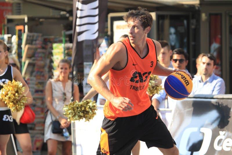 Simon Finzgar - 3x3 basketball. Simon Finzgar from Trbovlje team in 3x3 streetball competition held in Prague on 9.8.2015 stock image