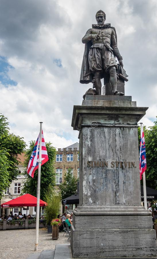 Simon Stevin statue on his square, Bruges, Flanders, Belgium royalty free stock photography