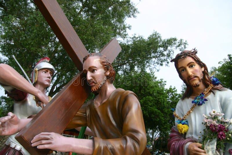 Simon von Cyrene und Christ stockbilder