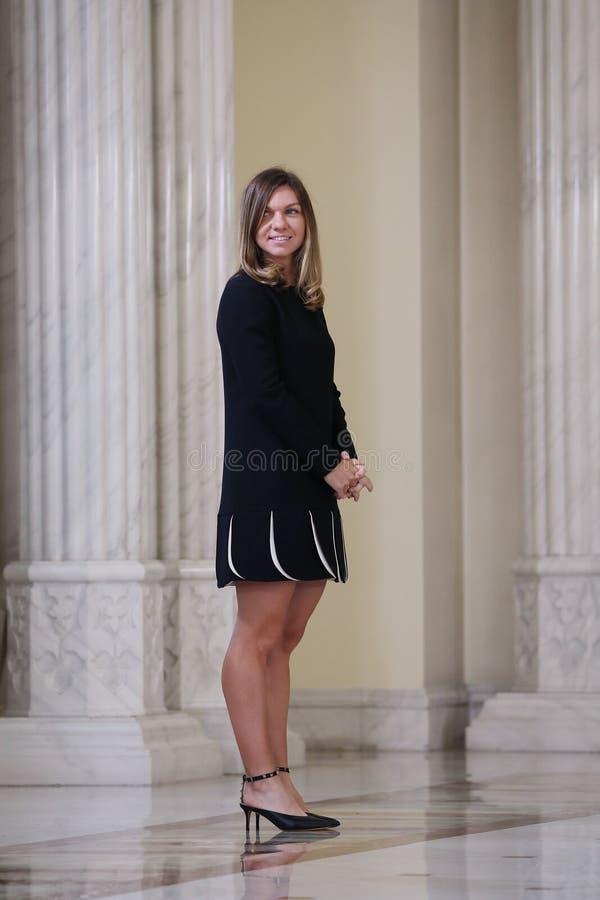 Simona Halep στο παλάτι Cotroceni, Βουκουρέστι στοκ εικόνα με δικαίωμα ελεύθερης χρήσης