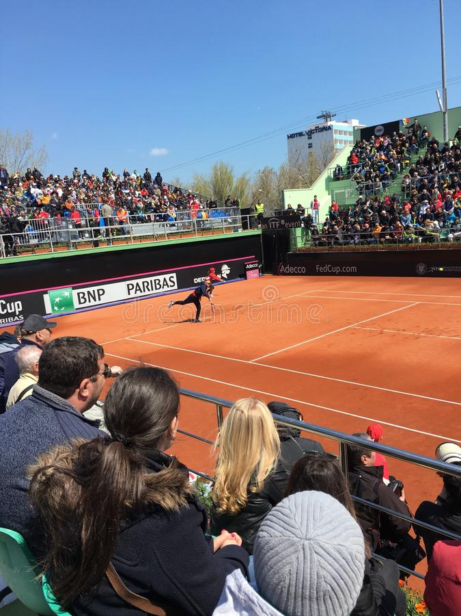 Simona Halep-het spelen in Fed Cup stock foto's