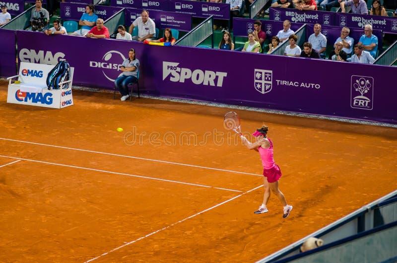 Simona Halep pendant le QF de Bucarest WTA ouvert photographie stock
