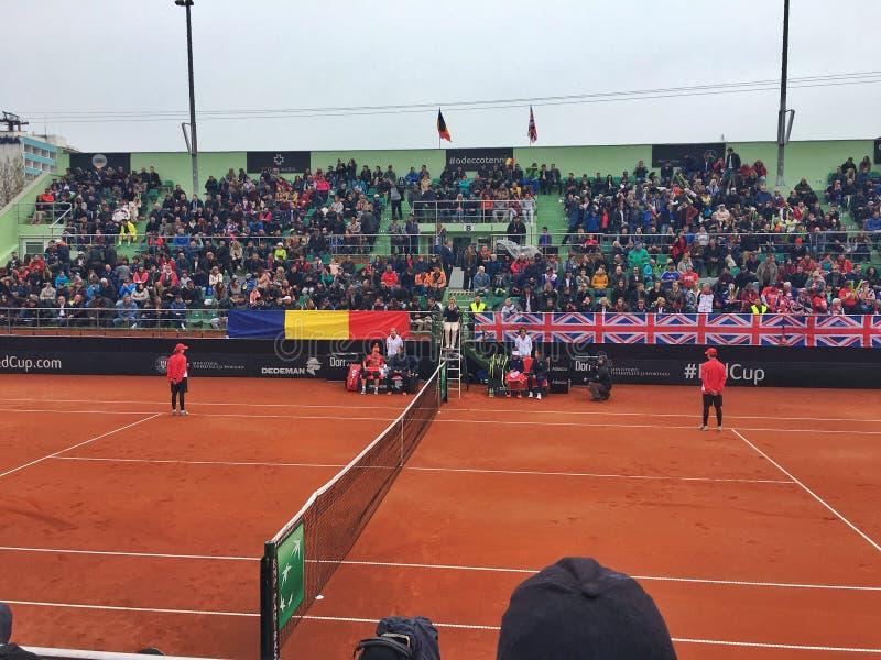 Simona Halep tegen Johanna Konta in Fed Cup-gelijke royalty-vrije stock afbeeldingen