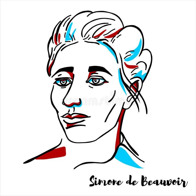 Simone de Beauvoir Portrait διανυσματική απεικόνιση