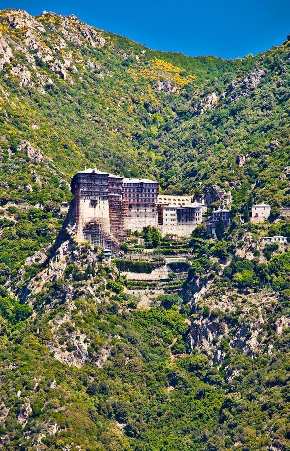 Simonopetra monastery at Mount Athos, Greece. Simonopetra medieval Orthodox monastery at Mount Athos, Agion Oros Holy Mountain, Chalkidiki, Greece royalty free stock image