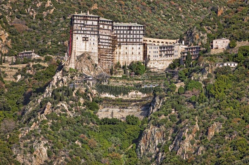 Simonopetra monastery at Mt Athos. Simonopetra scenic medieval Orthodox monastery at Mount Athos, Agion Oros (Holy Mountain), Chalkidiki, Greece royalty free stock image