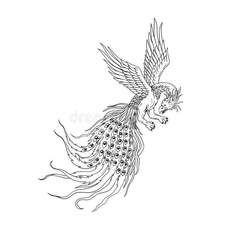 Simorgh or Simurgh Flying Drawing royalty free illustration