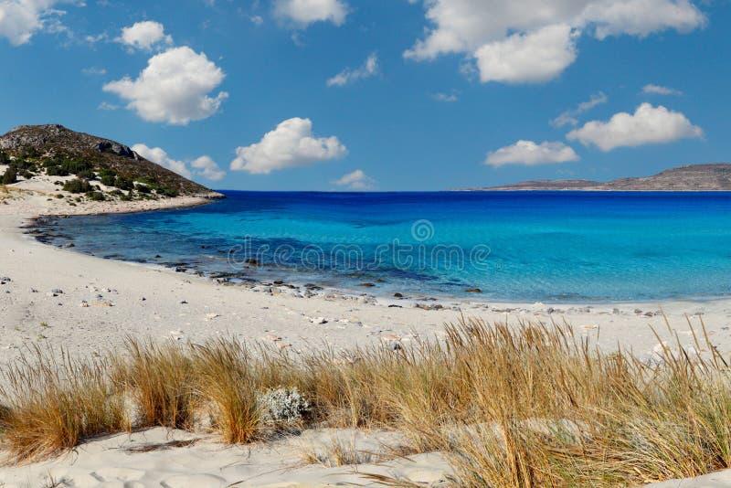 Simosstrand in Elafonissos-eiland, Griekenland royalty-vrije stock foto's