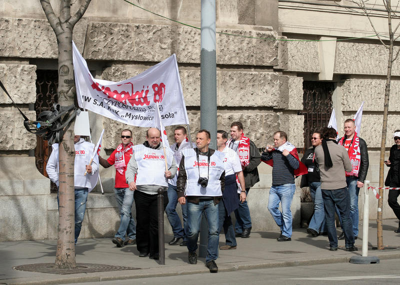 Simpatizantes polacos en Hungría fotografía de archivo