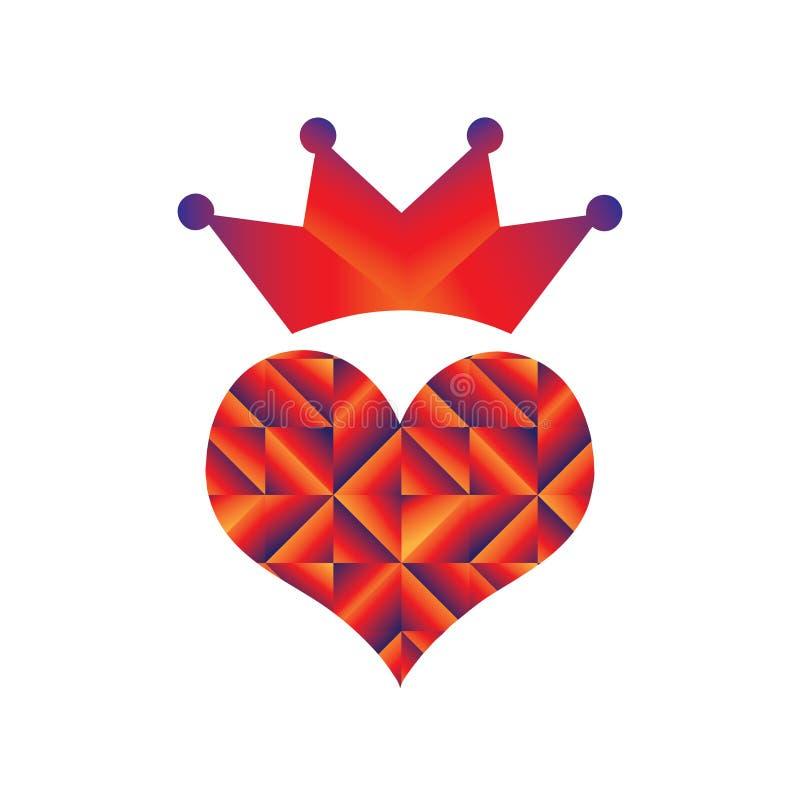 Simple abstract crown heart logo illustration vector illustration