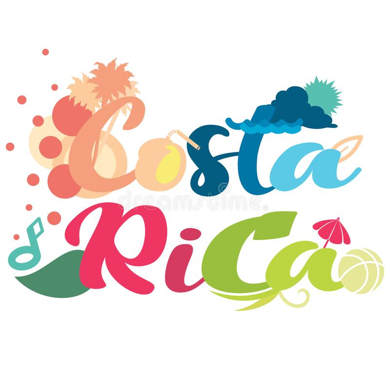 Simple abstract design on Costa Rica typography in vector format. Simple abstract design on Costa Rica typography on a white isolated background vector illustration
