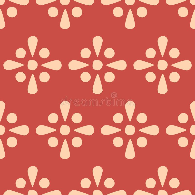 Simple abstract floral seamless pattern on dark coral background royalty free illustration