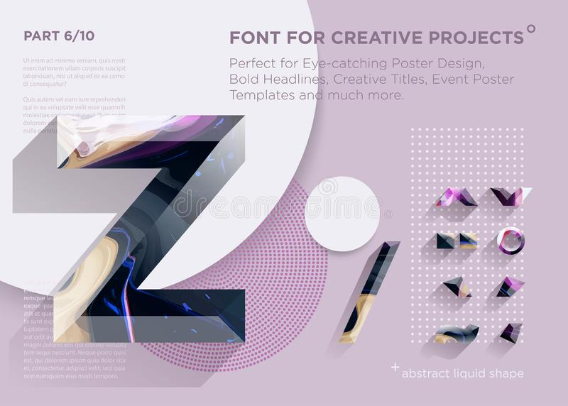 Simple Abstract Geometric Font. Perfect for Bold Headlines, Poster Designs, Creative Titles, Event Poster Template. royalty free illustration