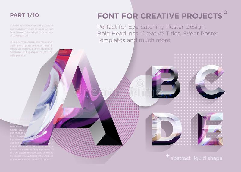 Simple Abstract Geometric Font. Perfect for Bold Headlines, Poster Designs, Creative Titles, Event Poster Template. Clean, Modern and Futuristic Typeface with royalty free illustration