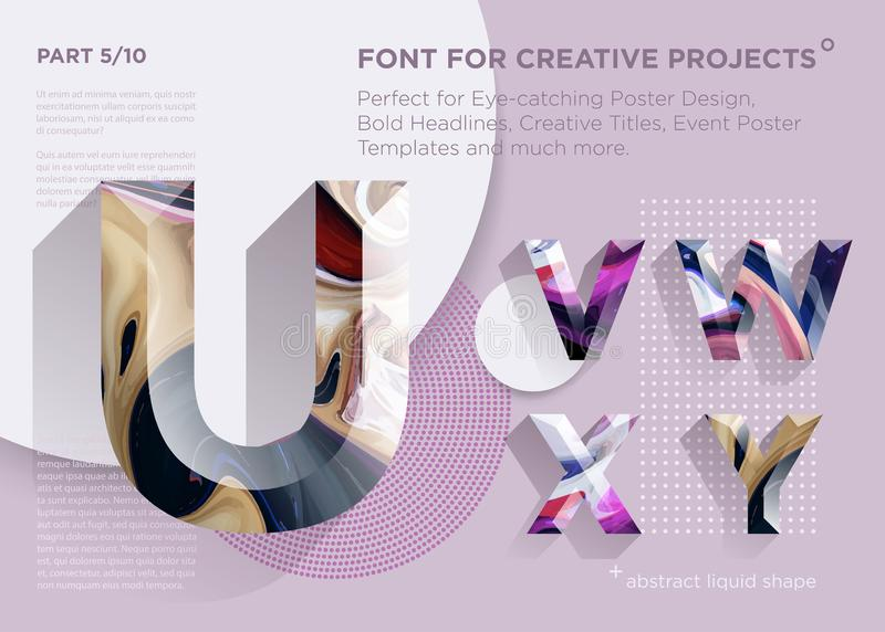Simple Abstract Geometric Font. Perfect for Bold Headlines, Poster Designs, Creative Titles, Event Poster Template. stock illustration