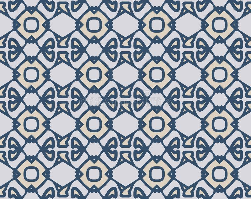 arabesque seamless pattern in blue and grey stock vector