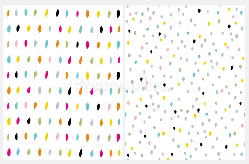 Cute Multicolor Brush Dots on a White Background. Funny Colorful Infantile Style Layouts. stock illustration