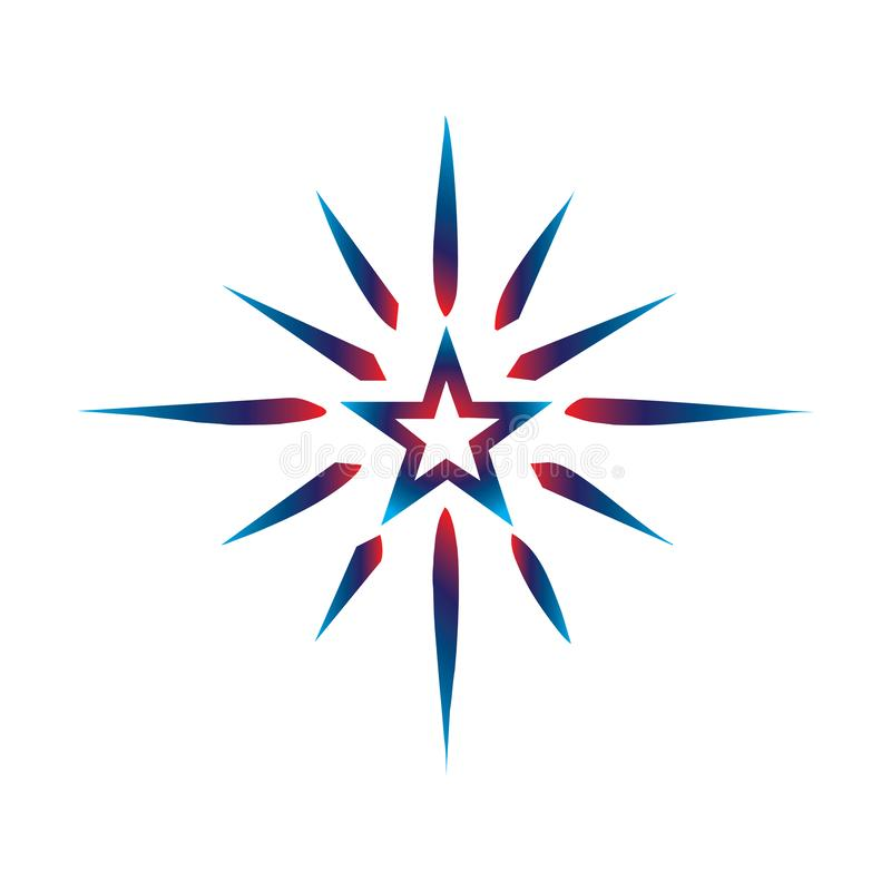 Simple abstract star logo gradient colour stock illustration