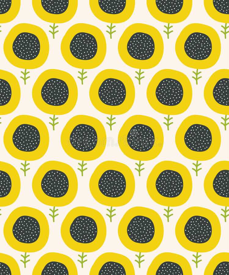 Simple abstract sunflower pattern. Doodle seamless background. Cute wallpaper. vector illustration