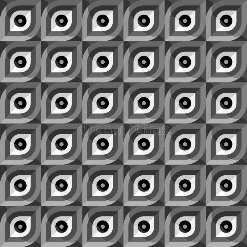 Simple abstract vector pattern. Colorless leaf-shaped tiles. Simple abstract seamless pattern. Colorless leaf-shaped concave tiles. Vector image royalty free illustration