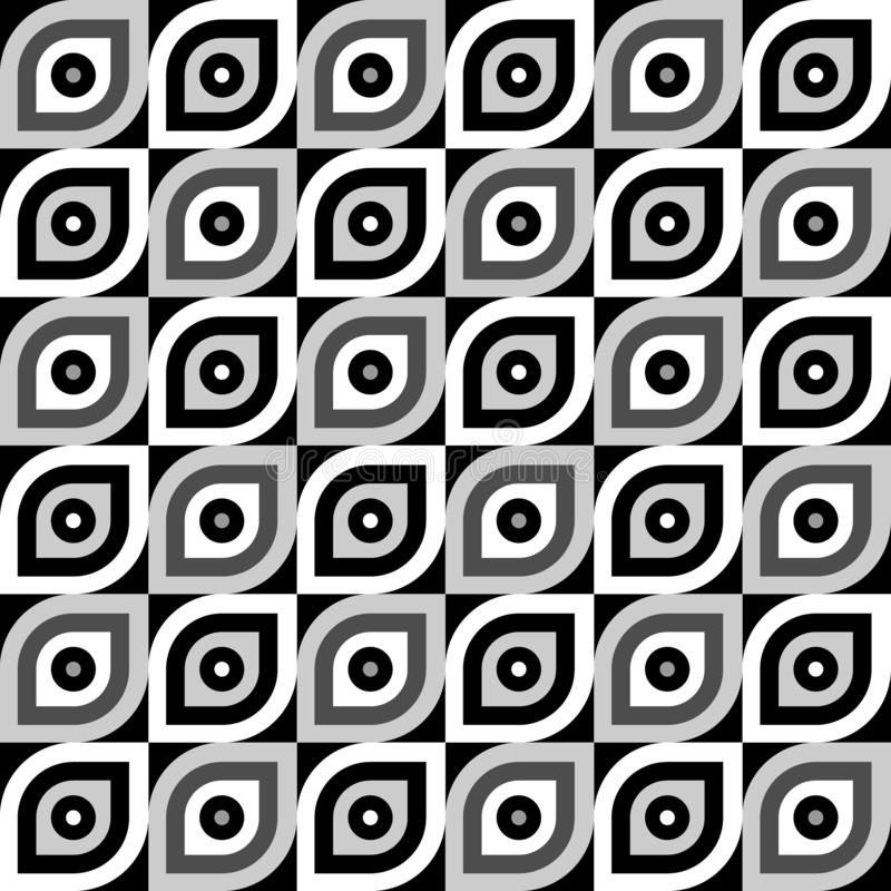 Simple abstract vector pattern. Flat colorless leaf-shaped tiles. Simple abstract seamless pattern. Flat colorless leaf-shaped tiles. Vector image stock illustration