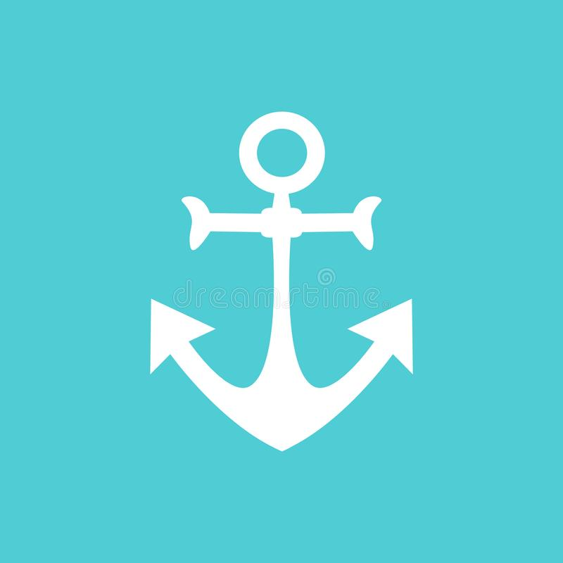 Free Simple And Wonderful White Anchor Design On A Blue Background Stock Images - 116542964