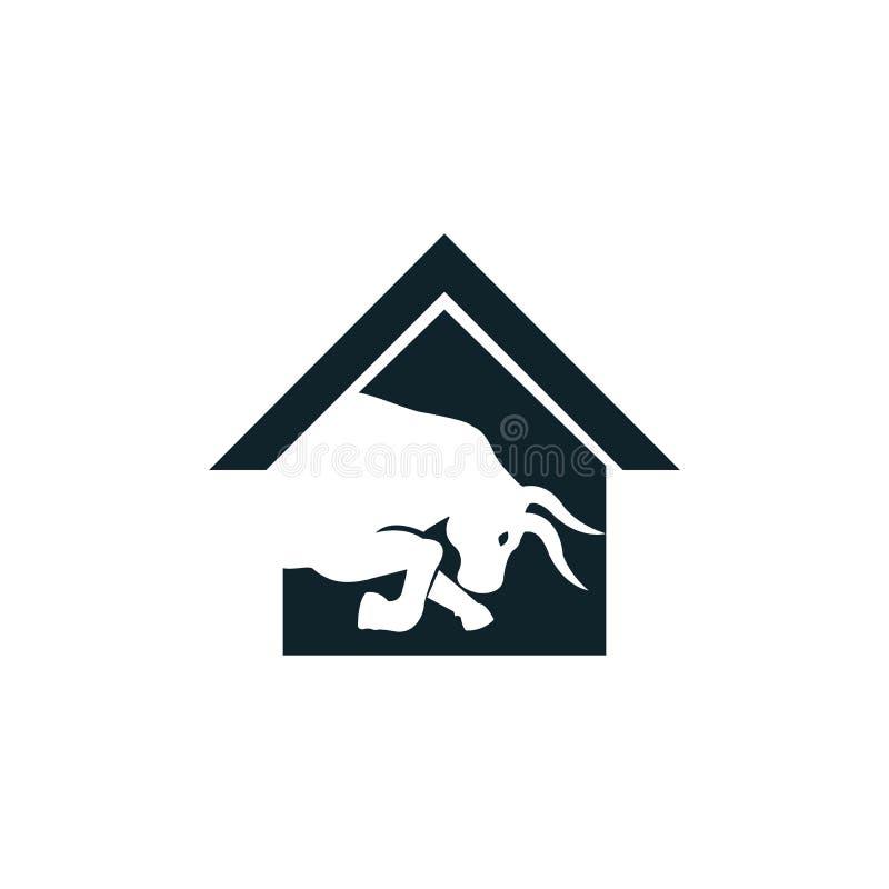 Bull house vector logo design. Simple animal and house vector logo design template stock illustration