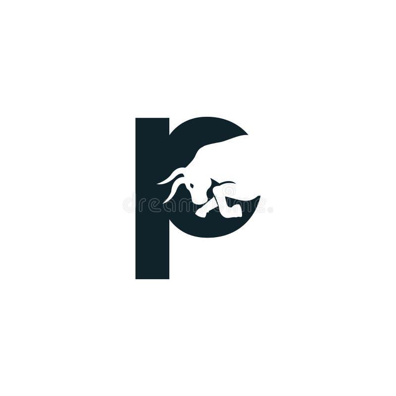 Bull letter P vector logo design. Simple animal letter P vector logo design template royalty free illustration