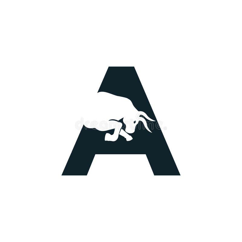 Bull letter A vector logo design. Simple animal letter A vector logo design template vector illustration