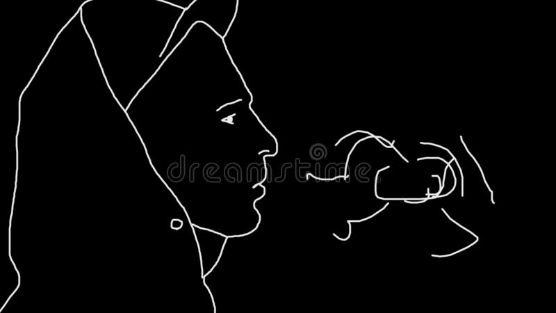 Simple animation of portrait of smoking guy. Repetitive motion of secureware cigarettes. Picture of white silhouette of stock illustration