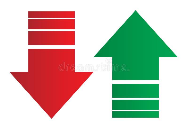 Simple arriba y abajo de flechas ilustración del vector