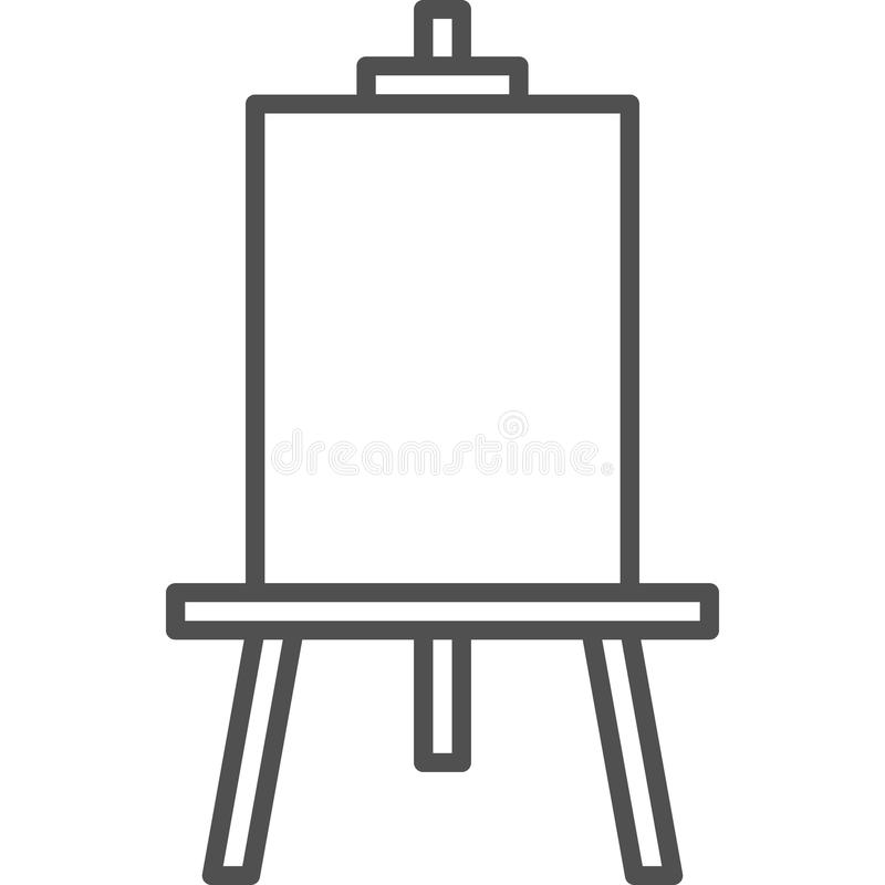Simple artistic and hobby Vector line art Icon. Drawing easel for painting. line art style icon. 48x48 Pixel Perfect. stock illustration