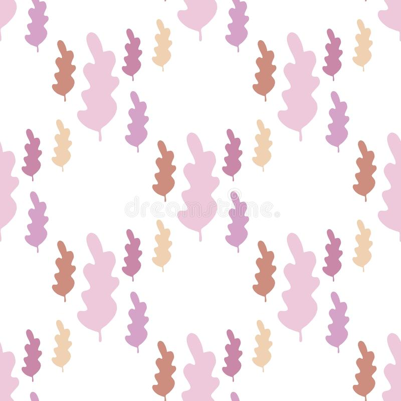 Simple autumn leaves seamless pattern in pastel colors. Fall season wallpaper vector illustration
