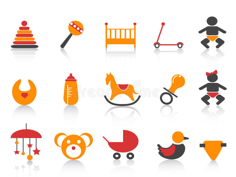 Download Simple baby icons set stock vector. Image of collection - 22656653