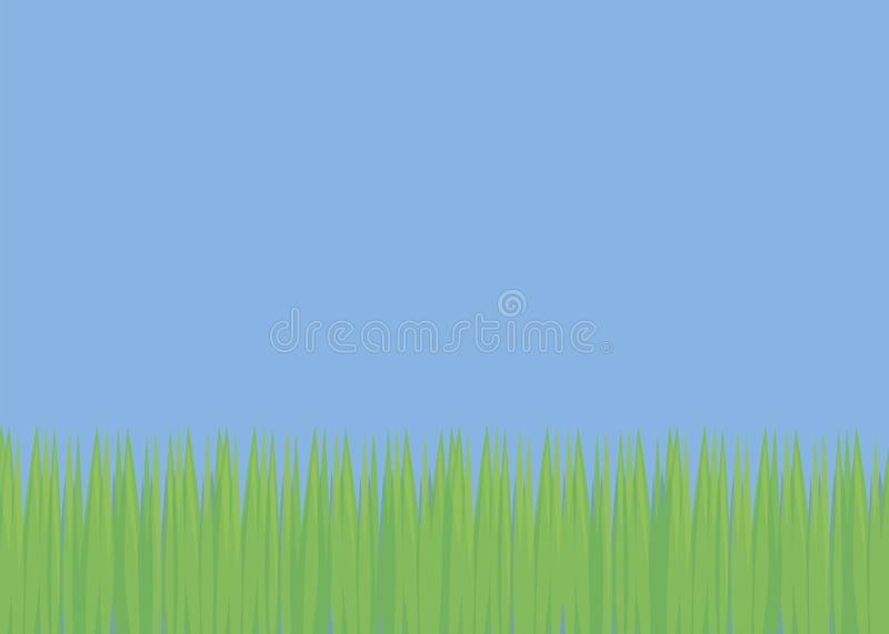 Simple background with blue sky and green fresh grass field glade soccer lawn light bright day vector illustration royalty free illustration